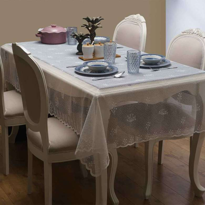 Örme Masa Örtüsü (145X220 Cm) - Açık Beyaz