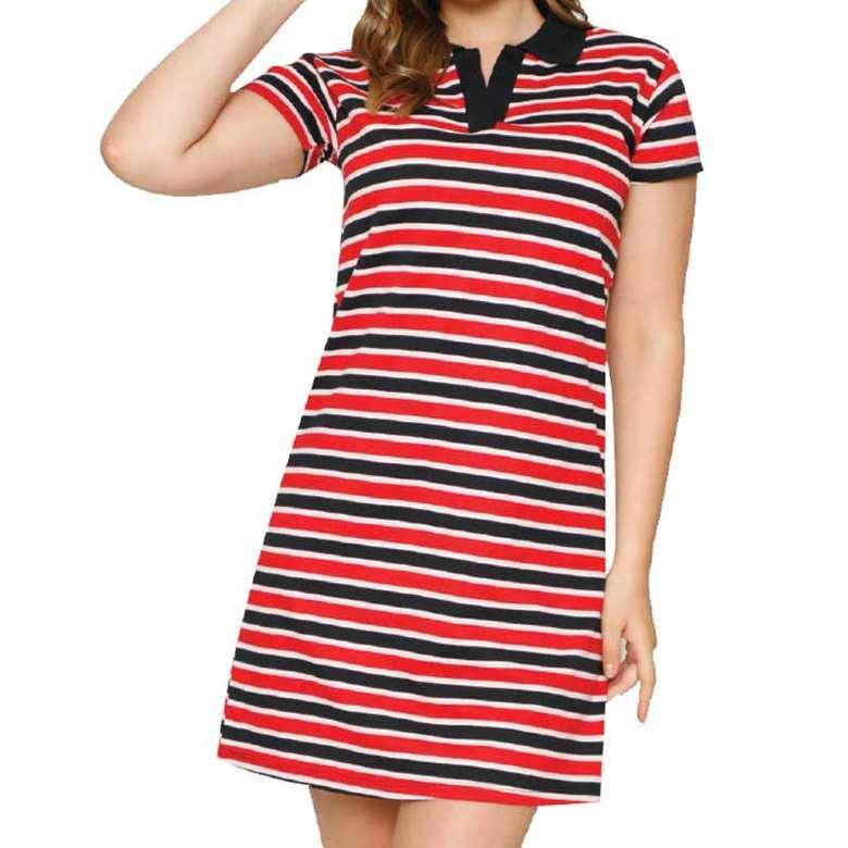 Bayan Ringelli Polo Yaka Elbise - Kırmızı, Xl