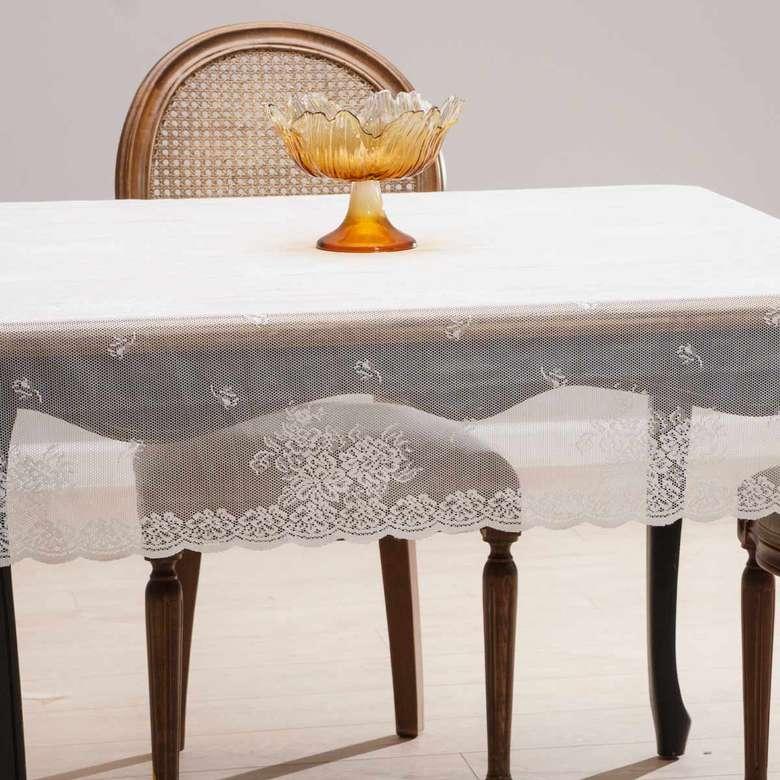Örme Masa Örtüsü (145X220 Cm) - Kar Beyazı