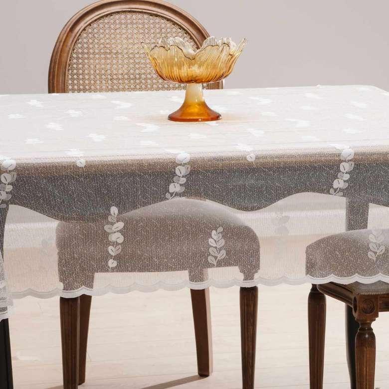 Örme Masa Örtüsü (145X220 Cm) - Kemik Beyazı