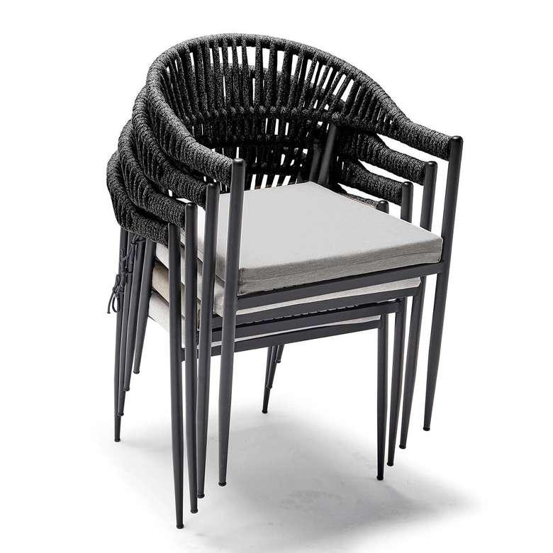 Decosıt Adel Bahçe Balkon  Masa Takımı (2 Adel Koltuk + 70X70 Cm Kare Kompakt Masa) - Antrasit