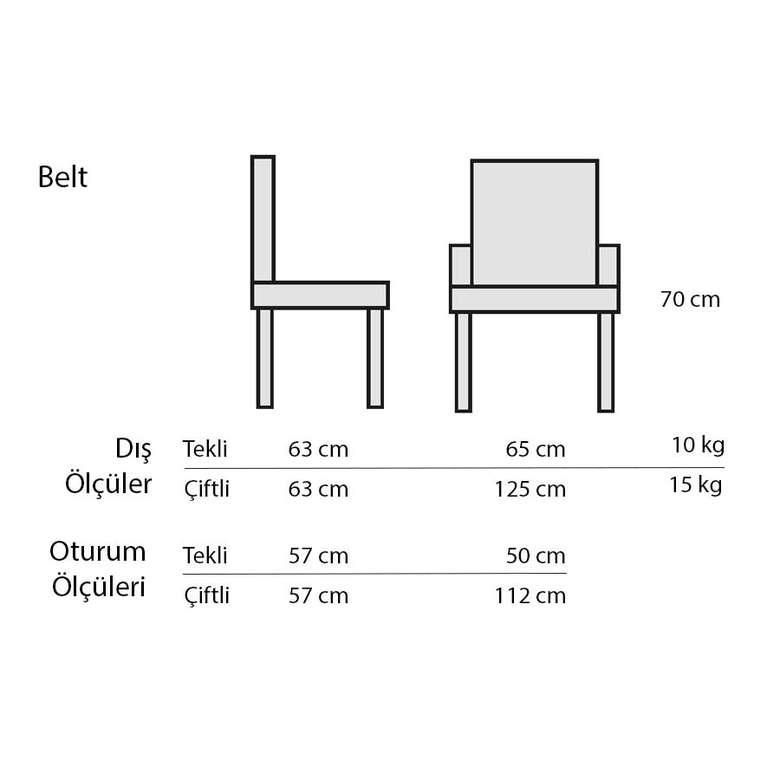 Decosıt Belt Rattan Örgü Bahçe Bistro Masa Takımı (2 Koltuk +  70 Cm Yuvarlak Masa) - Ekru