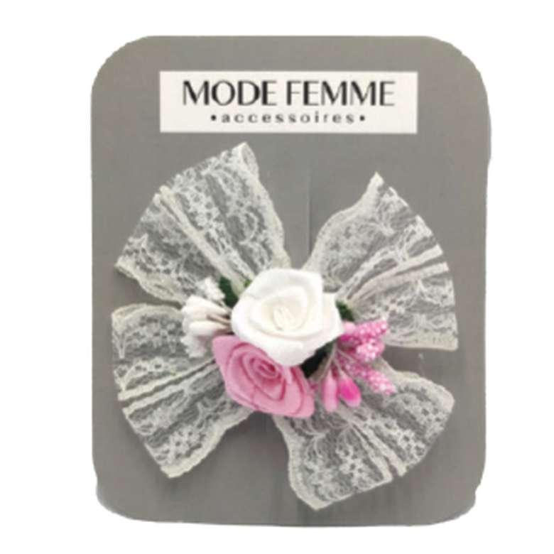 Toka Çiçekli Kumaş - Açık Pembe-beyaz