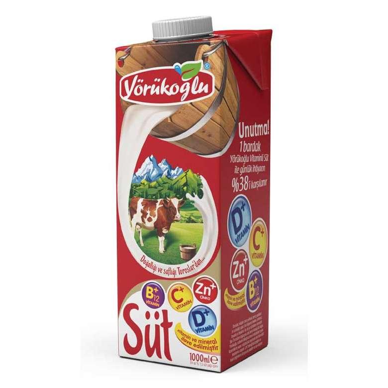 Yörükoğlu Süt Yarım Yağlı Vitaminli (en Az %1,5 Yağlı) 1 L