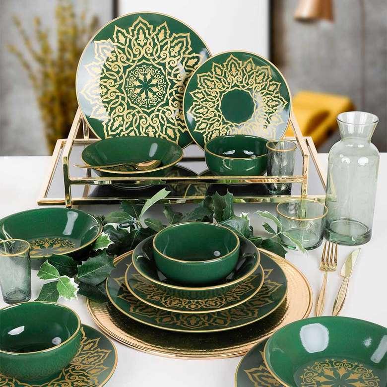Keramika Topkapı Yeşil Yemek Takımı 24 parça 6 kişilik