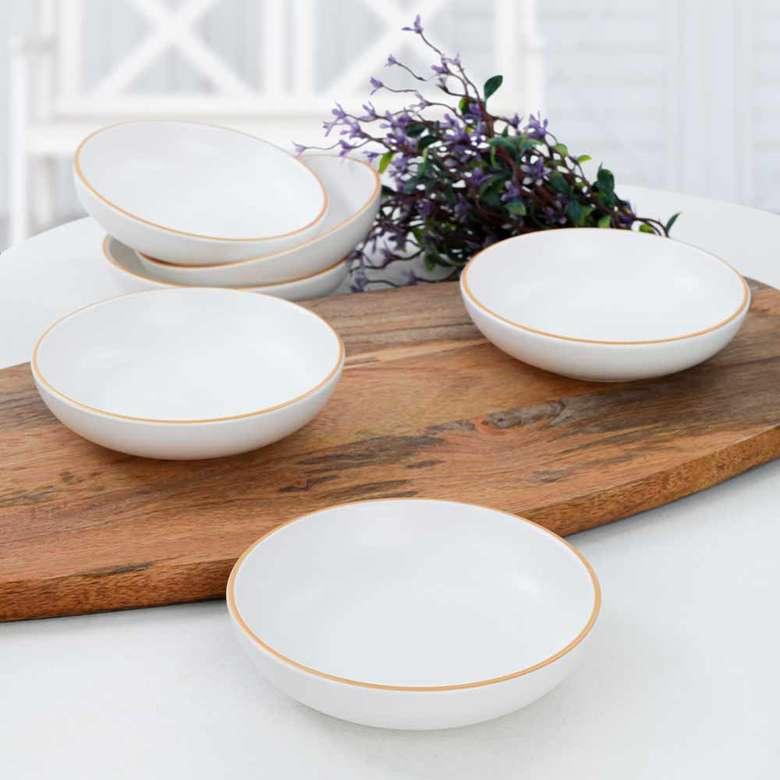 Keramika Gold Line White Halka Çerezlik/Sosluk 13 cm 6 adet