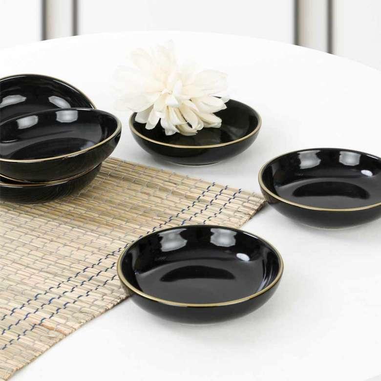 Keramika Gold Line Black Halka Çerezlik/Sosluk 13 cm 6 adet