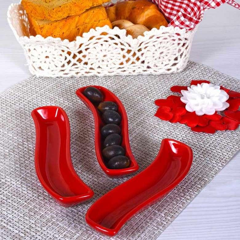 Keramika Kırmızı Ivory Zeytinlik 18 cm 3 adet