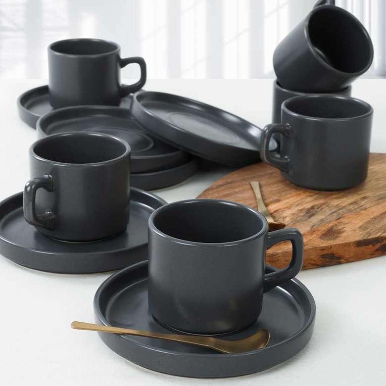 Keramika Stackable Çay Fincan Takımı 12 Parça 6 Kişilik