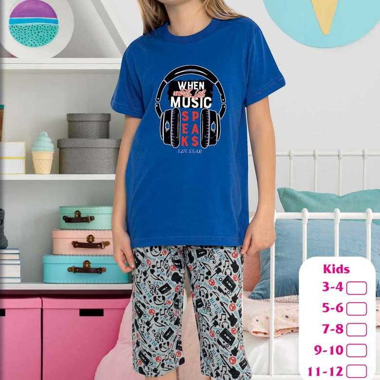 Kız Çocuk Kısa Kollu Bermuda Pijama Takımı - Mavi, 3-4 Yaş