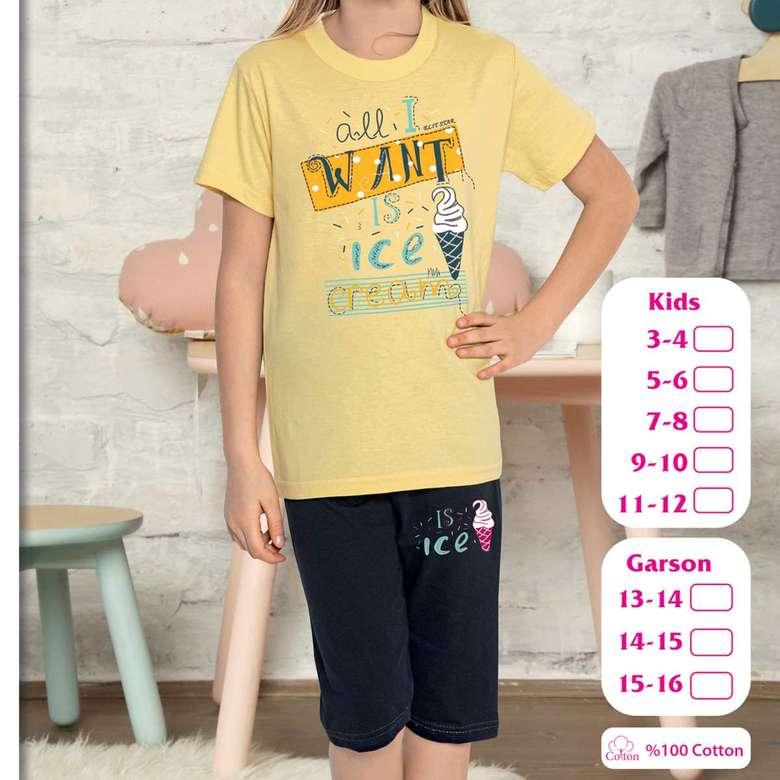 Kız Çocuk Kısa Kollu Bermuda Pijama Takımı Sarı