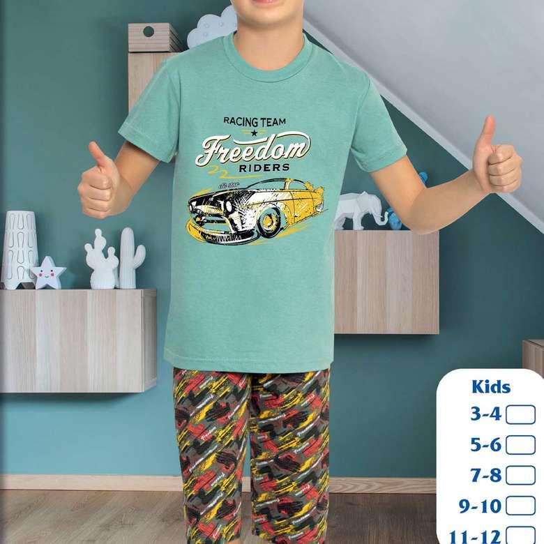Erkek Çocuk Kısa Kollu Pijama Takımı Yeşil