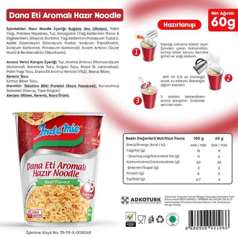 İndo Mie Noodle Bardak Dana Etli 60 G