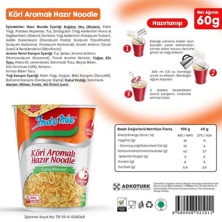 İndo Mie Noodle Bardak Körili 60 G
